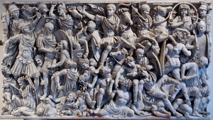 Third-century Roman soldiers battling barbarian troops on the Ludovisi Battle sarcophagus (250-260) --Wikipedia